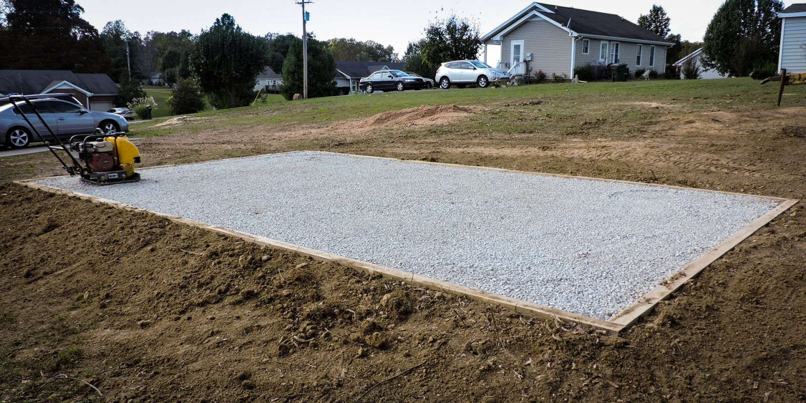 A gravel shed foundation in KY