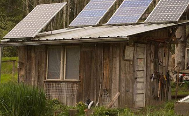 solar panel on top of shed