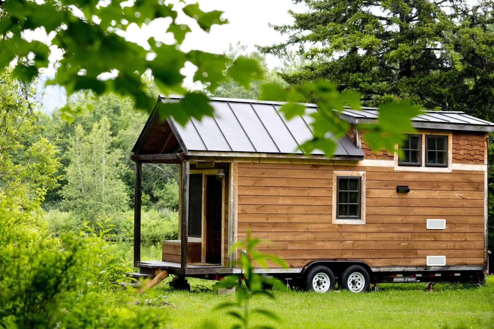 A tiny shed house on wheels