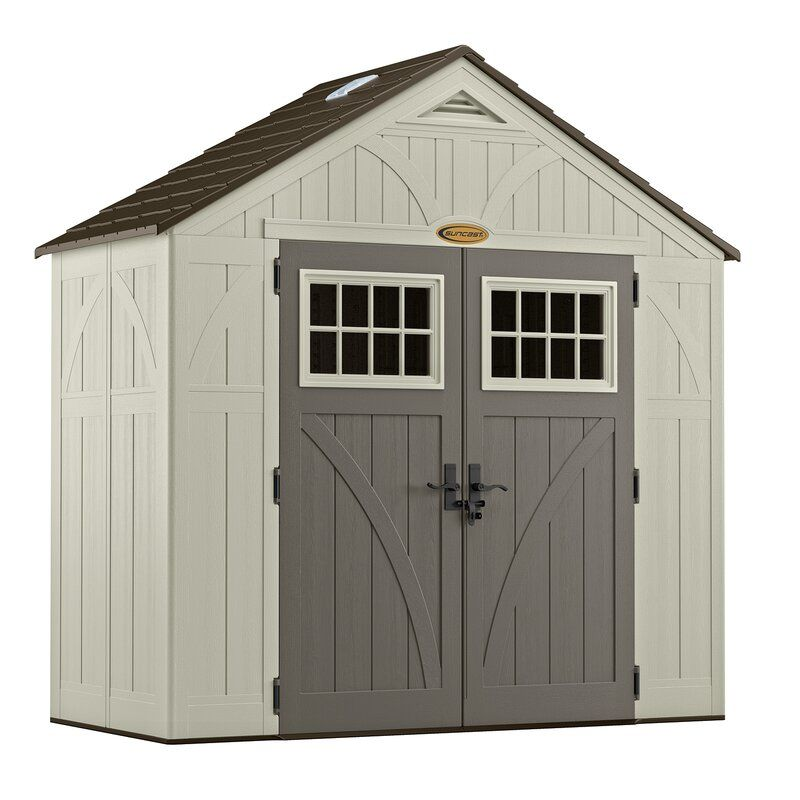 A plastic shed to compare to a vinyl storage shed