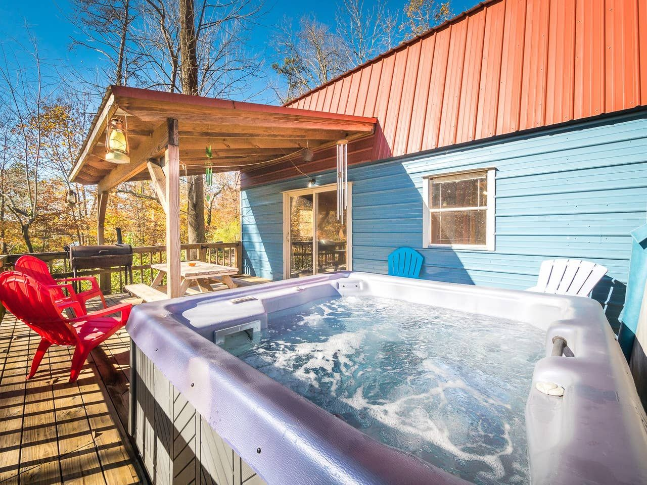 living in a shed with a hot tub