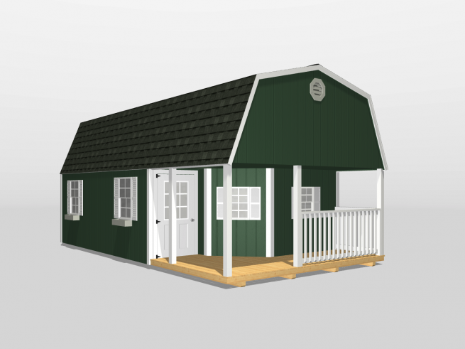 A design of a shed with paint color green