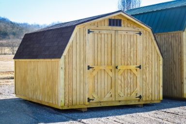 A portable shed in Kentucky with wooden siding