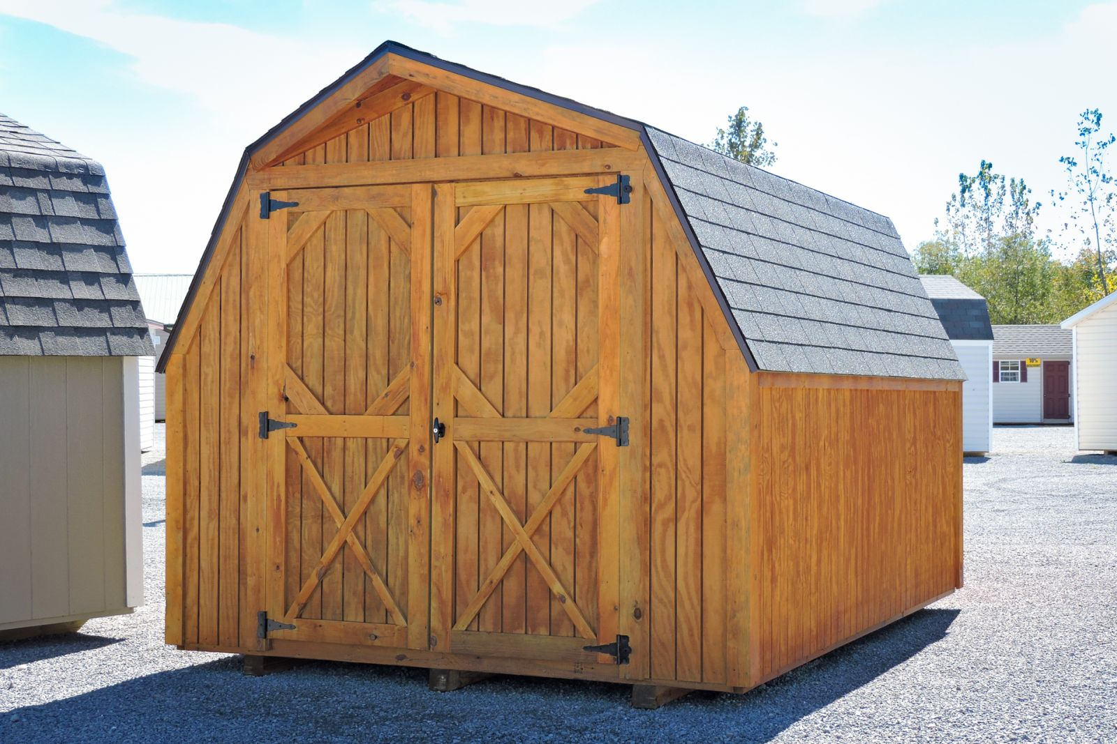 A portable shed in Kentucky with double doors