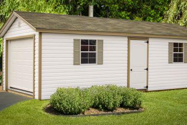 A portable garage in Kentucky with windows