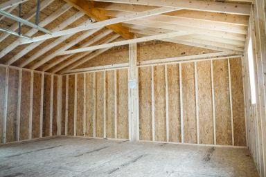 Interior of a multiple-car prebuilt garage in Kentucky