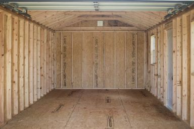 Interior of a garage shed for sale in Tennessee and Kentucky