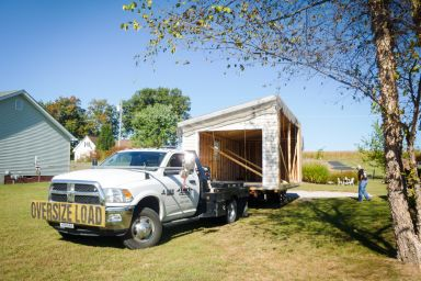 Part of a multiple-car modular garage in Kentucky being delivered