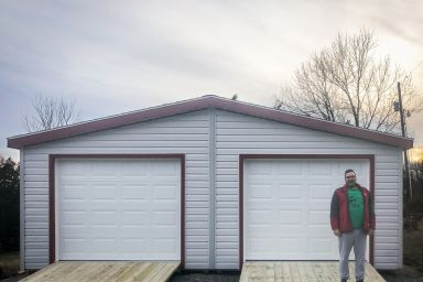 A happy customer with a modular garage available in Tennessee