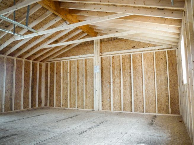 Interior of a prefab two-car garage in Kentucky