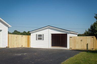 A doublewide custom garage constructed by garage builders in Kentucky