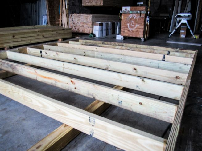 Floor framing on a prefab shed in Kentucky