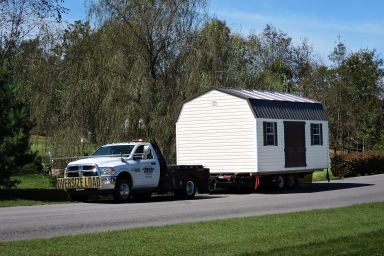 A shed delivery of a lofted shed in Kentucky