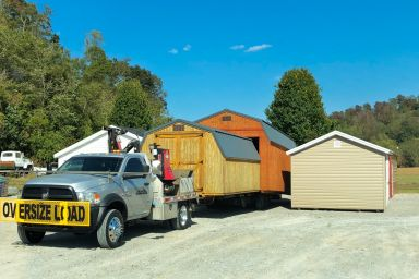 A truck and trailer for shed delivery in Tennessee